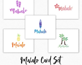 Hawaiian Thank You Card - Mahalo Cards - Hawaii - Mahalo Thank You Cards - Watercolor - Thank You Cards Set