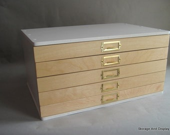 Storage Cabinet, Collectors Cabinet, Rubber Stamps, Mineral,Fossil,Rock and Gem Organizing, Flat File with shallow drawers.Specimens storage