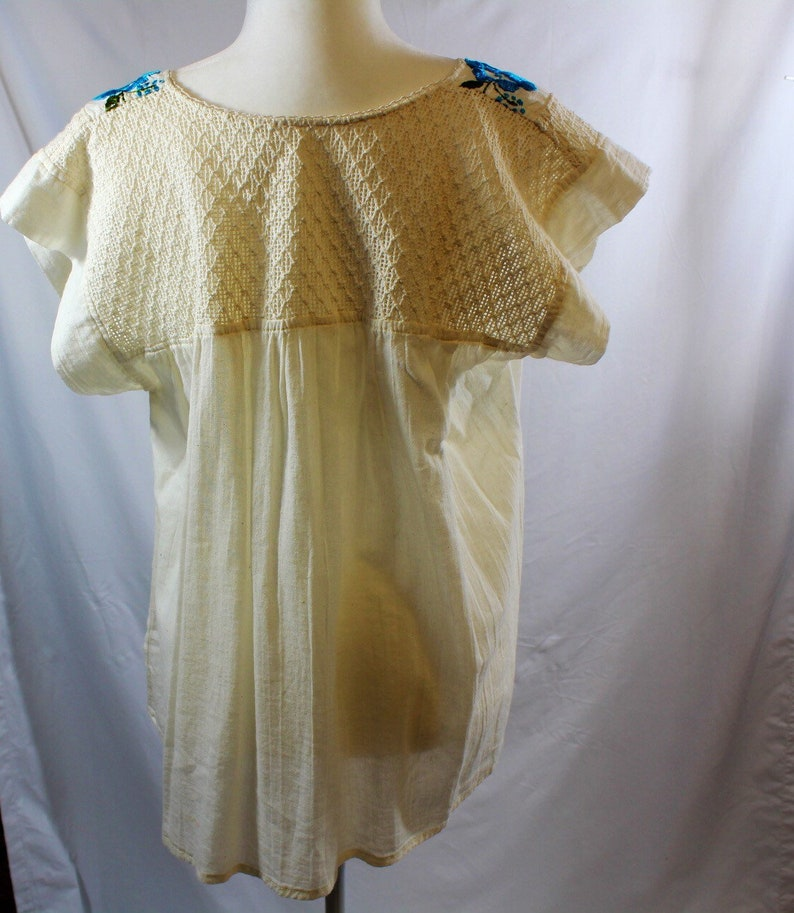 1970\u2019s Handmade Mexican Embroidered Peasant Top