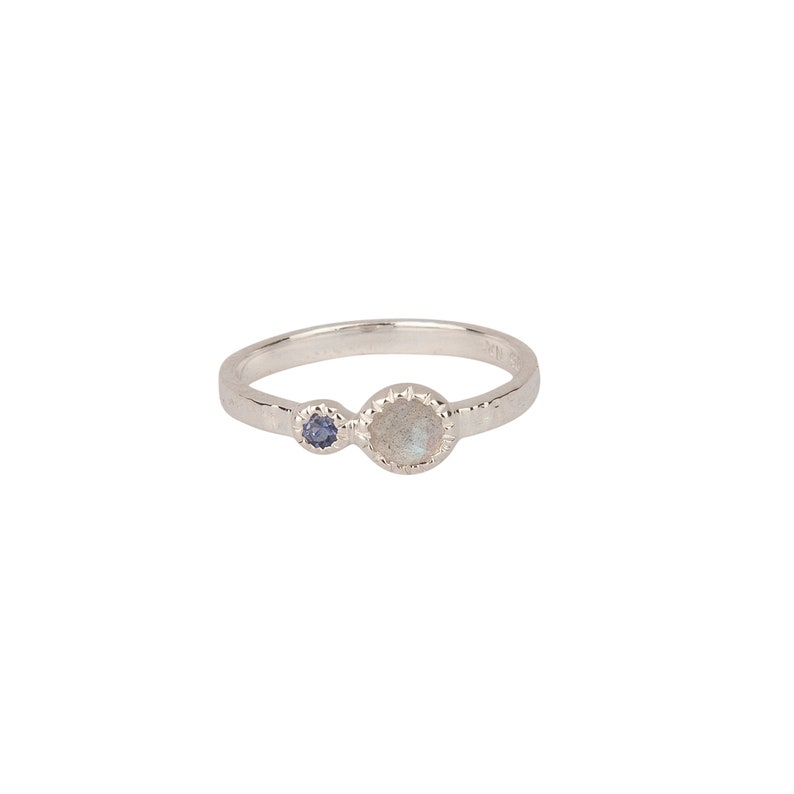 Iolite Stone Ring Sterling Silver Ring Textured Silver Ring Stacking Presh Ring Echo Gem Ring in Silver Faceted Labradorite Ring