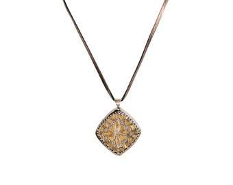 Saree Canary Diamond Necklace on Leather, Vintage Long Necklace, Metallic Gunmetal Necklace, Saree Fabric Necklace, Presh Necklace