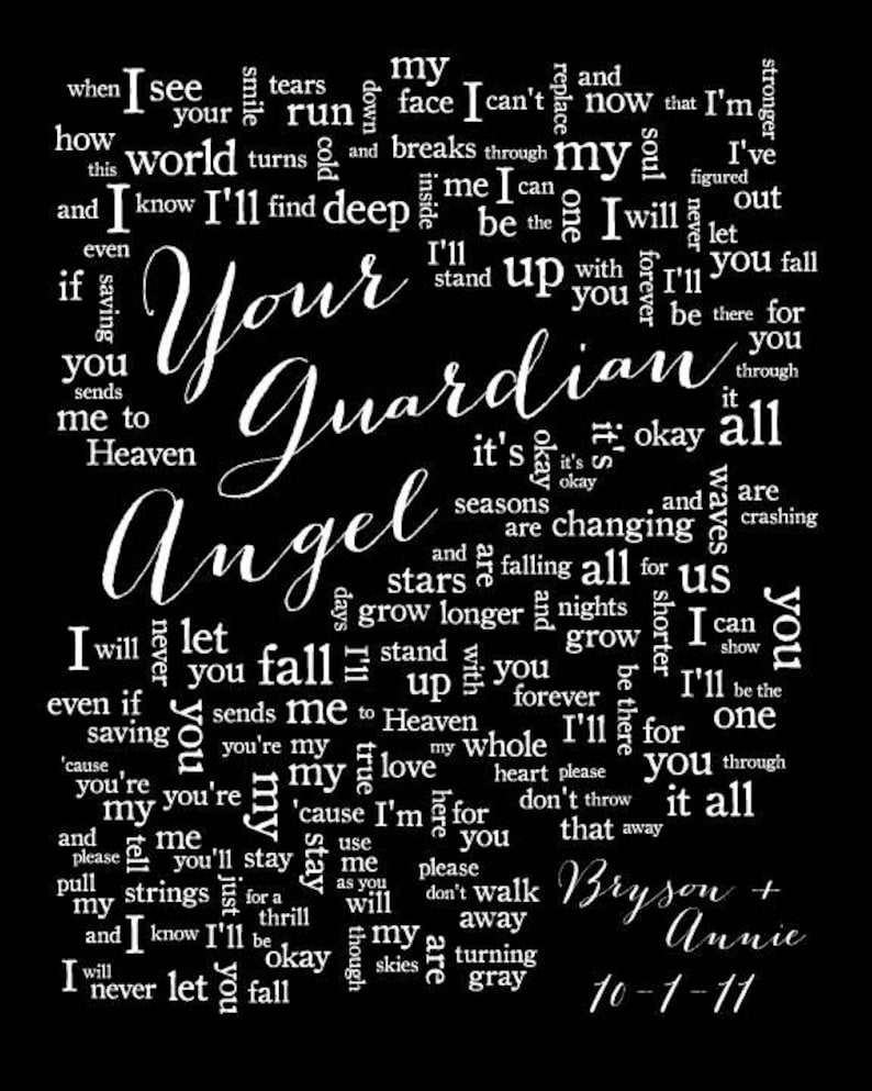 Your Guardian Angel//The Red Jumpsuit Apparatus//1st Paper Anniversary Gift  for husband wife//Song Lyrics//Personalized names