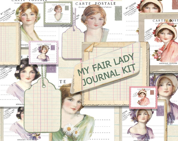 Printable Mini Journal Kit, Vintage Ladies, French Postcard Journal Set, Hybrid Journal, Vintage Office, Ephemera