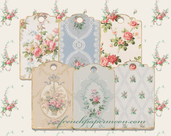 Digital Victorian Wallpaper Tags, Vintage Floral Patterns, Gift Tags, Hang Tags, Printable Tags, Scrapbooking, Digital Tags