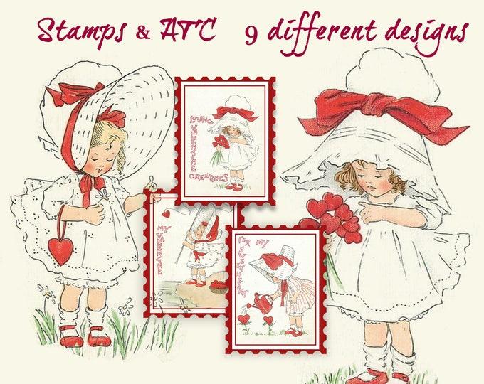 Adorable Valentine Printable ATC postal stamp collage sheets, Digital Images, download, Vintage Girl. Valentines Day, Retro Valentine