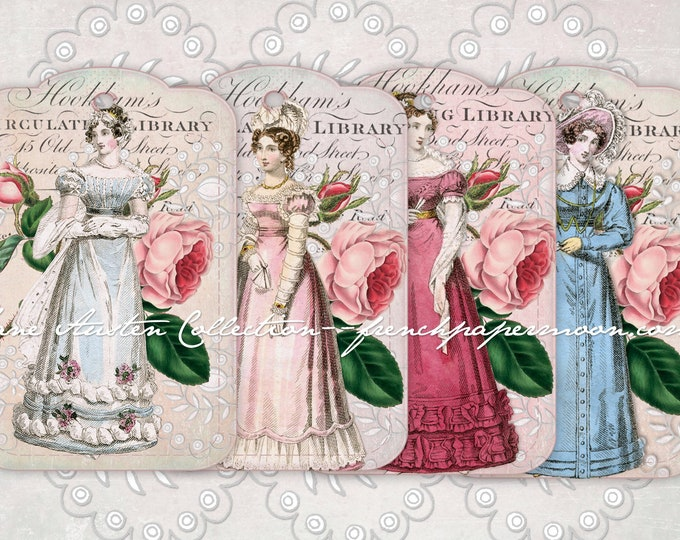 Digital Jane Austen Printable Tags, Regency Tags, Regency Fashion, Scrapbooking, Gifts, Wedding Tags, Gift supply, etsy shop