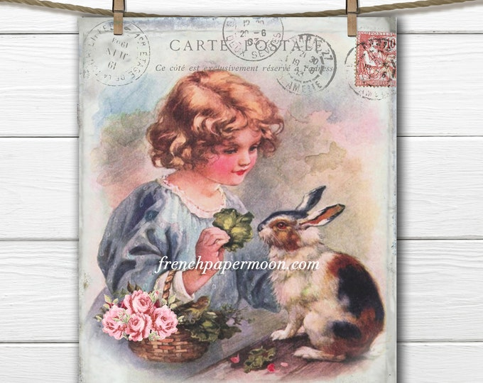 Adorable Shabby Vintage Girl and Bunny, Girl's Room Print, Easter Pillow Image, Fabric transfer, Easter Crafts, Digital Bunny Printable