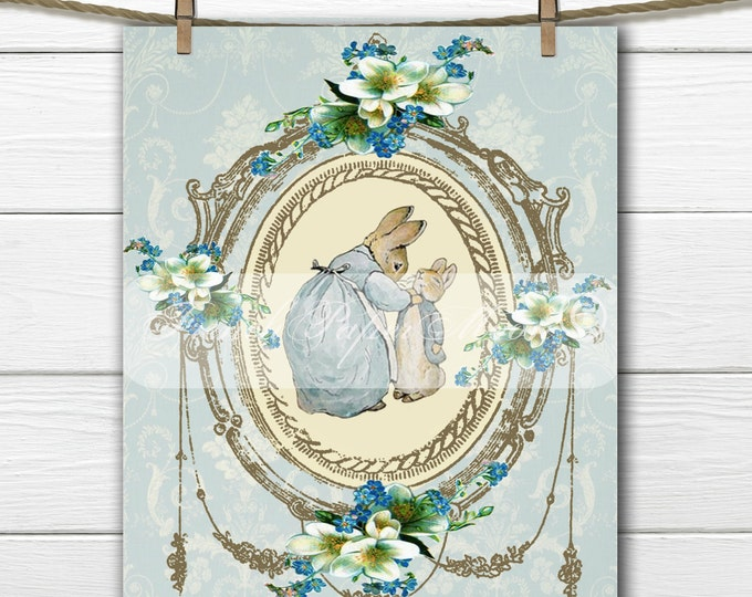 Peter Rabbit, Digital Shabby Chic Printable Beatrix Potter, Easter Pillow Transfer Graphic, Instant Download, Kids Room, Blue