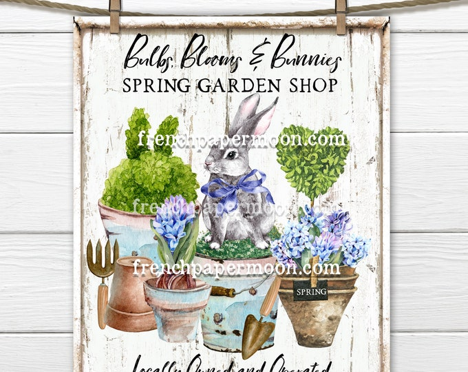 Spring Garden Shop, Spring Bunny, Bulbs, Hyacinth, Potted Plants, DIY Garden Sign, Pillow Image, Wreath Attachment, PNG, Wood, Digital