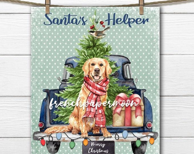 Golden Retriever Christmas Print, Christmas Truck, Santa's Helper, Scarf, Xmas Pillow Image, Graphic Transfer, Transparent, Fabric Transfer