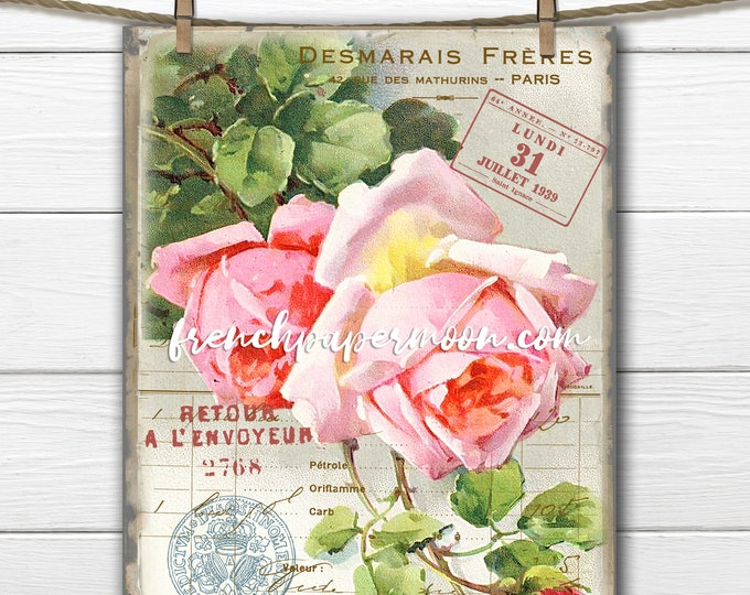 Shabby Pink Roses, Vintage Rose Graphic, French Pillow Image, Catherine Klein Roses, French Pillow Image, Decoupage, Spring Rose Printable