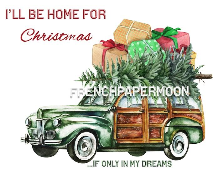 Vintage Digital Christmas Car, Woody Wagon, Xmas Tree, Presents,Gifts, Christmas Pillow, Christmas Transfer, Christmas Crafts