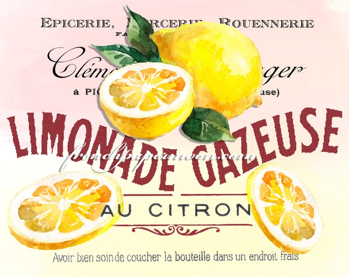 French Lemonade Digital Print, Watercolor Lemons, French Graphics, Large Size Lemonade, Instant Download Graphic Transfer Image