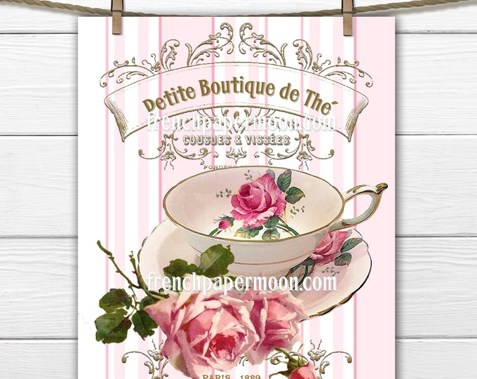 Vintage Shabby French Tea Graphic, Printable Teatime, Teacup, Antique Roses, Pink, French Pillow Image, Sublimation, Mother's day, Crafts