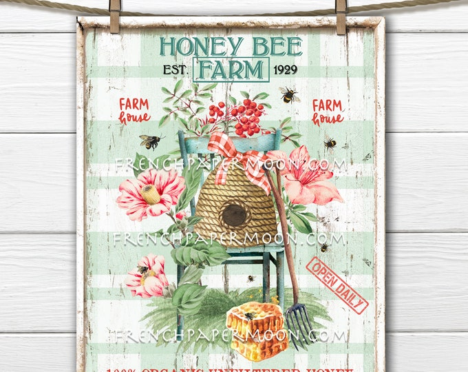 Honey Bee Farm, Digital, Farmstyle Honey Graphic, Beehive, Bees, DIY Honey Sign, Kitchen Decor, Wreath Attachment, Fabric Transfer, PNG
