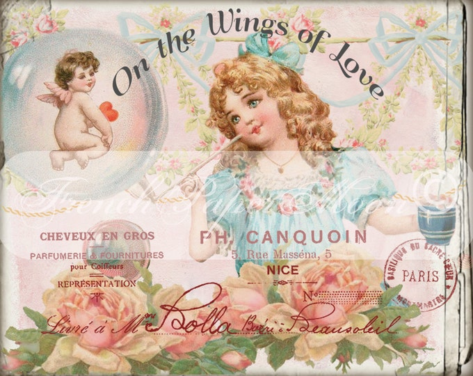 Adorable Shabby Chic Victorian Valentine, Vintage Girl, Shabby Cherub, Valentine Pillow Transfer Graphic