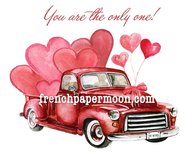 Digital Valentine Truck with Hearts, Hand-Drawn Red  Truck, Valentine Pillow Image, Instant Download Printable Love Transfer Graphic