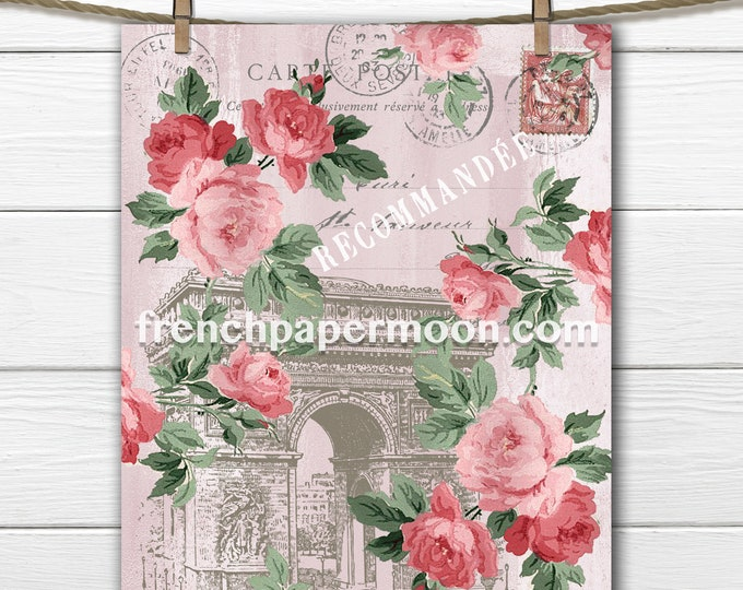 Shabby Pink Paris Printable, Arc de triomphe, Vintage Roses, Paris Ephemera, Wall Art, Craft Supply, Digital Image
