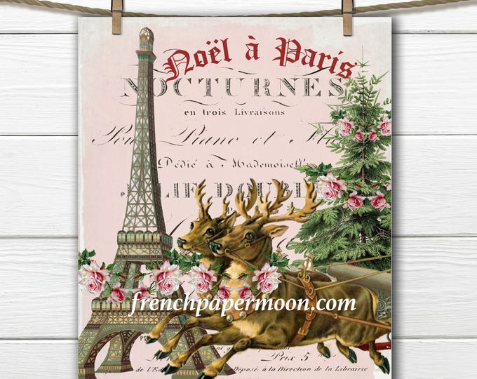 Shabby Pink Christmas reindeer, Christmas in Paris, Christmas Tree Pillow Image, Printable Graphic Transfer Image