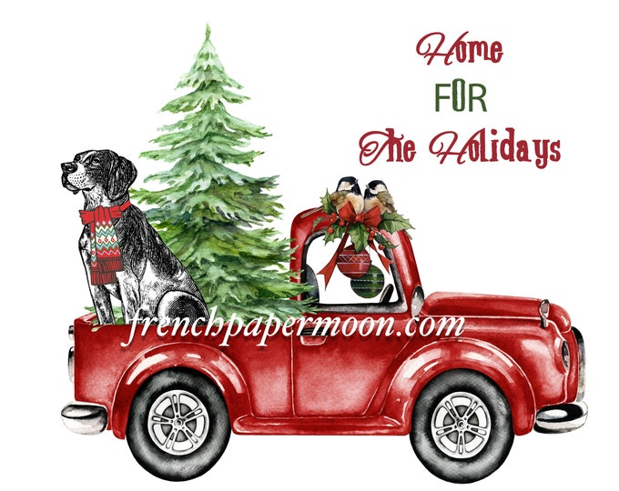 Digital Red Christmas truck, Christmas Dog, Tree, Christmas Pillow, Fabric Transfer, DIY Christmas Crafts