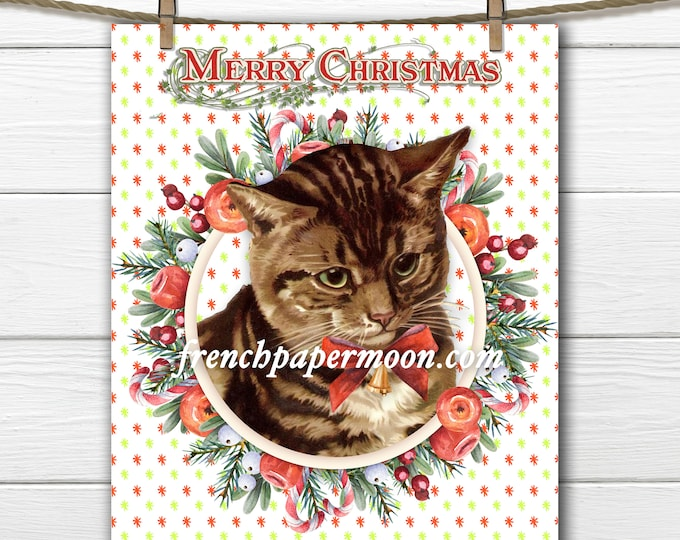 Cutest Christmas Cat Digital, Vintage Xmas Cat, Cat Transfer Graphic, Instant Download, Christmas Crafts, Decor
