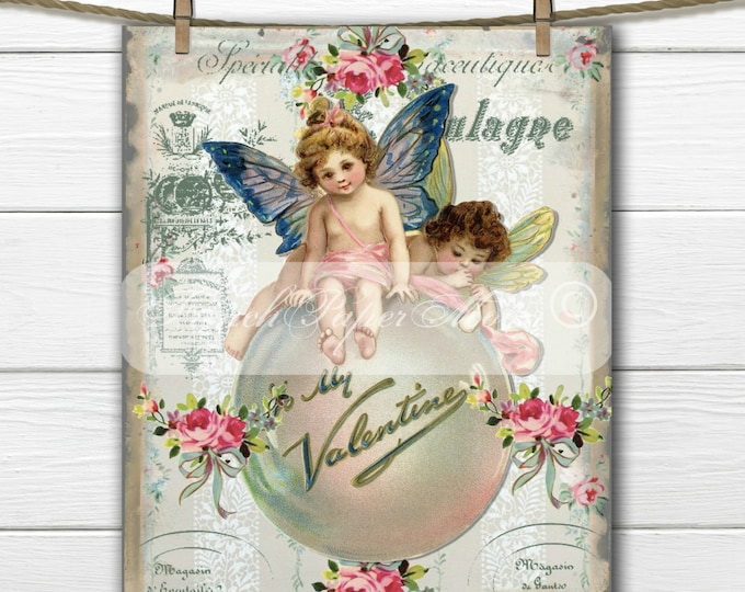 Shabby Chic Victorian Valentine Fairies, French Typography, Valentine Pillow Image, French Valentine Transfer Graphic Printable