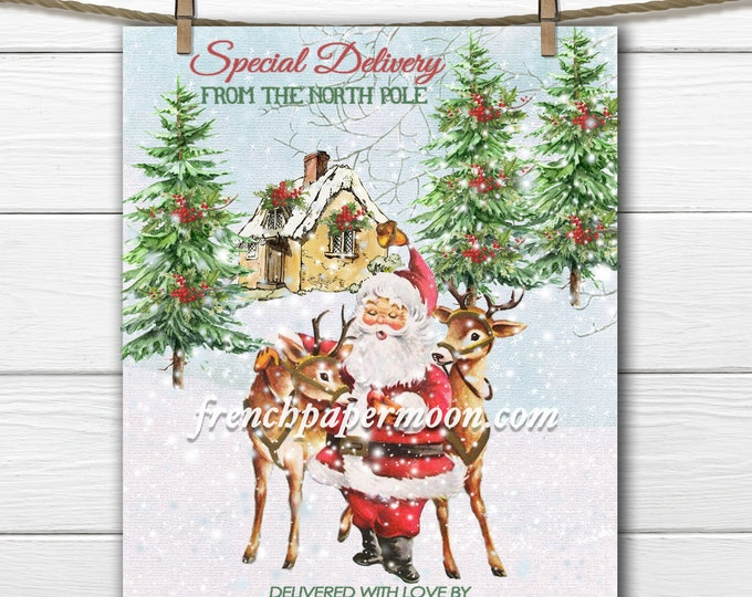 Digital Santa Reindeer, Special Delivery, North Pole, Winter Scene, Christmas Graphic, Image Transfer, Christmas Crafts
