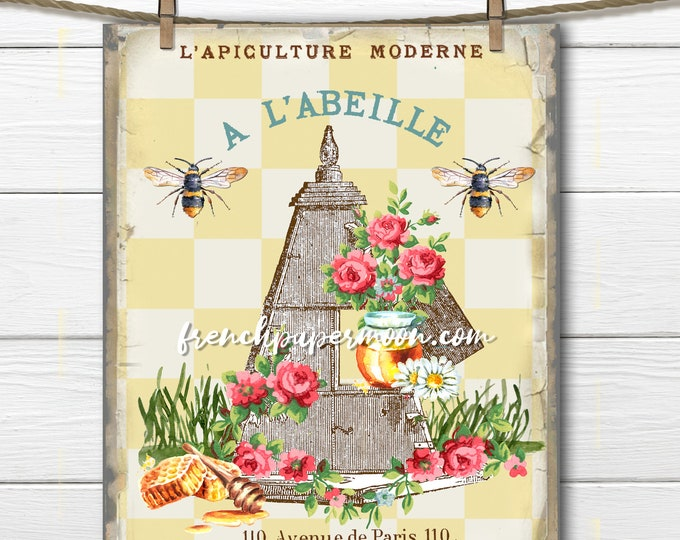 French Honey Bee Graphic, Shabby Beehive, French Bee Image Transfer, French Pillow Transfer, Vintage Apiary, Sublimation, Large Transparent