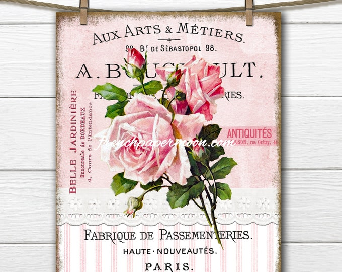 Shabby French Rose Digital Image, Vintage Pink Rose, French Pillow Image, Fabric Block, Fabric Transfer, Sublimation, Wreath Print, PNG