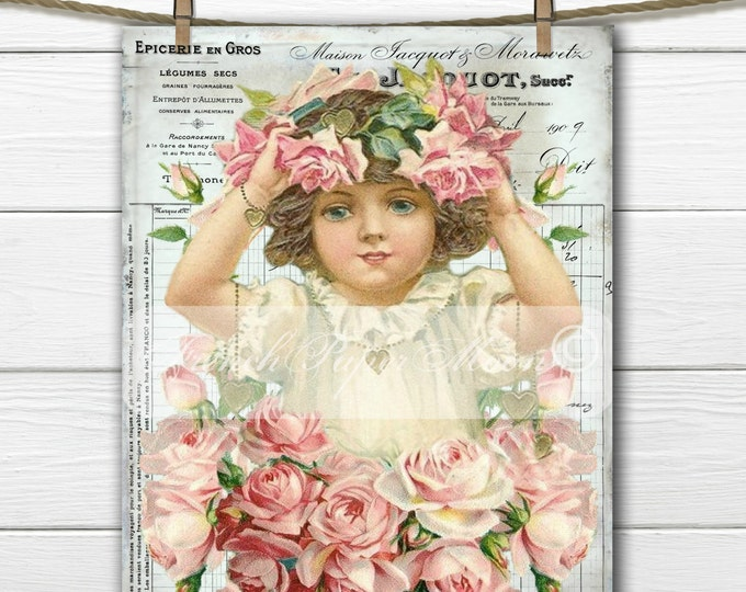 Shabby Digital Victorian Girl with Roses, Vintage Girl, FrenchGraphic Transfer Image, Digital Pillow Graphic, Decoupage