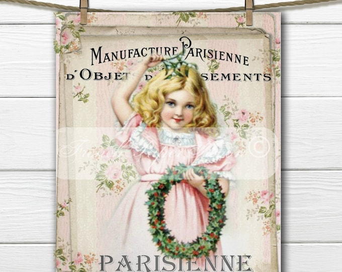 Shabby Chic Pink Christmas, Vintage Girl with Christmas Wreath, French Graphics, French Pillow Transfer, Printable Christmas Graphic