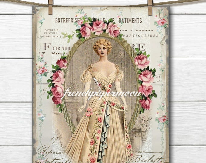 Digital Victorian Fashion Plate, French Graphics, Vintage Florals, Instant Download Transfer Graphic, Craft Supply