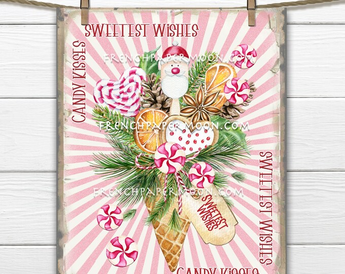 Pink Christmas Candy Digital, Christmas Sweets, Candy Bouquet, DIY Xmas Sign, Pillow Image, Wreath Decor, Wreath Attachment, Print, PNG