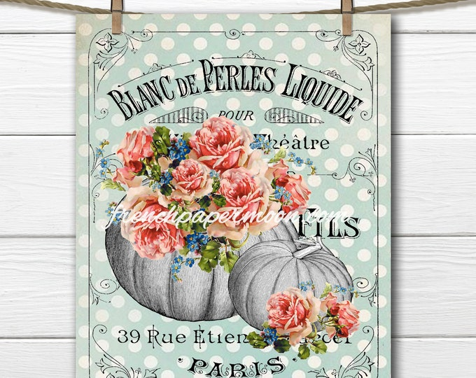 Vintage French Fall Graphic, Pumpkins, Roses, Shabby Chic Fabric Transfer, Image Transfer, Large size Digital Download