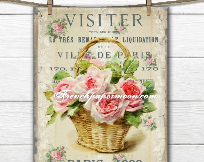 Digital Vintage Basket of roses, Shabby French Roses, French Pillow, Scrapbooking graphic Transfer, Large Image Download