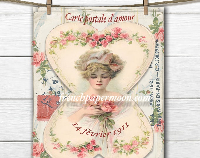 Shabby Valentine Victorian Lady Roses French Large Image Instant Download Vintage Transfer Fabric digital sheet printable