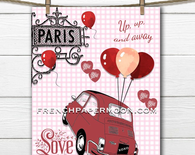 Adorable Red Valentine Heart Digital, Red Fiat, Red Balloons, Valentine Pillow, Large Image Graphic Transfer