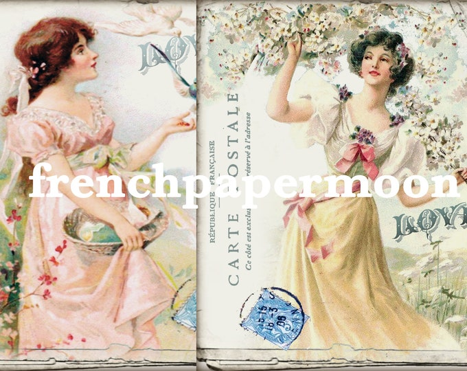 Victorian Girl, Set of 2, Vintage Spring Ladies, Instant Download, Pillow Images, Craft Supply, Graphic Transfer