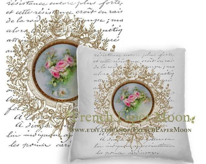 French Graphic Limoges, Flower Image, French Graphics, French Pillow Image, Instant Download, Graphic Transfer