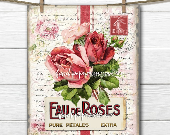 French Perfume Graphic, Shabby French Rose Printable, Vintage Roses, Rose Pillow Image, Digital Image Transfer, Decoupage, Transparent
