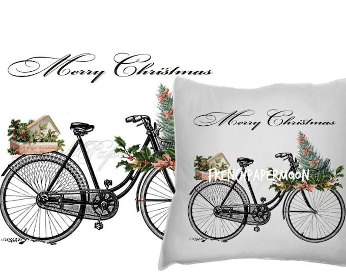 Digital Christmas Bike, Gifts Christmas tree, Shabby Chic Christmas Bike Printable, Xmas Bike, Transfer Graphic, Instant Download