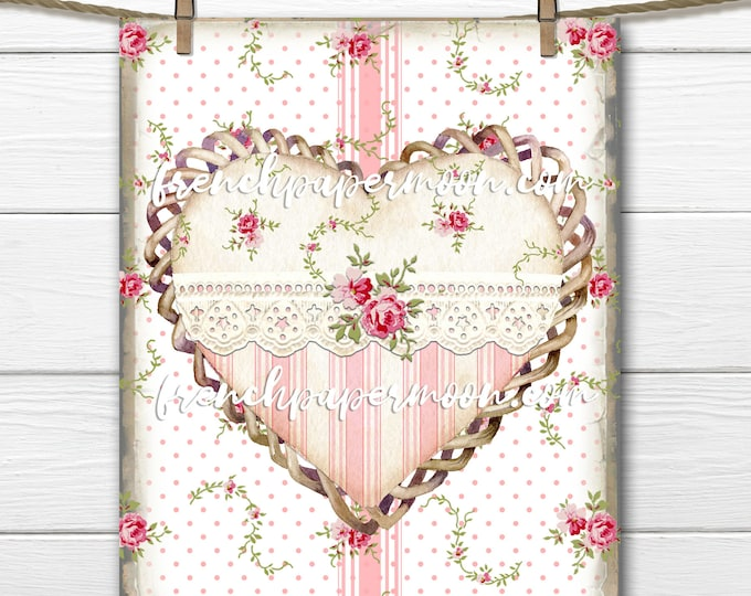 Shabby Floral Heart, Lace Heart Graphic, Rose Heart, Printable Pillow Image, Mother's Day DIY, Pink Roses, Stripes, Sublimation, Transparent