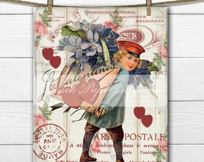 Shabby Digital Valentine, Vintage Boy, Mailman, Violets, French Valentine Pillow, Vintage Valentine Transfer, Pillow Image