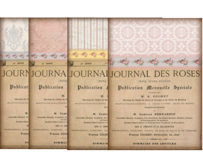 Printable Notecards, Vintage French Digital Wallpaper Printable, Digital French Notecards, Journal Des Roses Download