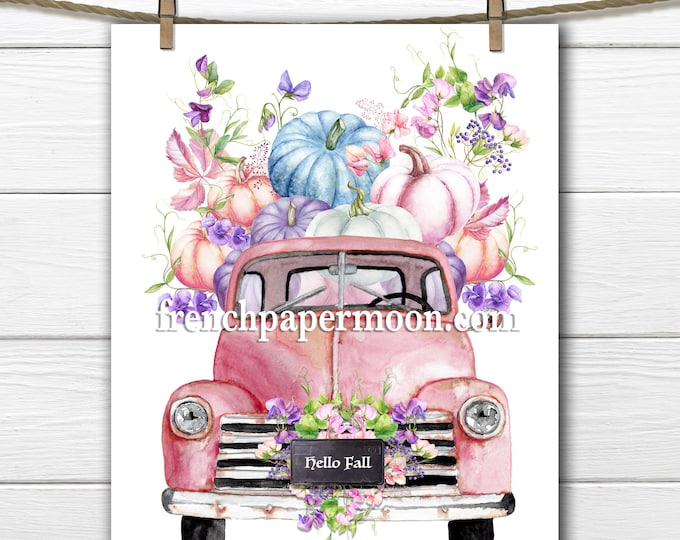 Shabby Fall Truck, pink Pumpkin Truck, Pastel Fall Graphic, Vintage Farm Truck, Pillow Image, Iron on Fabric, Sublimation, Crafts, Print