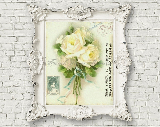 Digital Shabby White Rose Bouquet, Old Fashioned Heirloom Cottage Roses, Romantic French Shabby Pillow Image Graphic Transfer