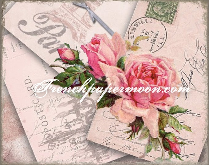 Shabby Vintage French Rose Postcard Printable, Large Image, French Pillow Graphic Transfer, Digital Download, Digital Rose Graphic