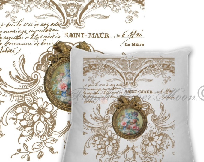 Vintage Digital Intricate French Ornaments, Frames, French Pillow Transfer, French Transfer Printable