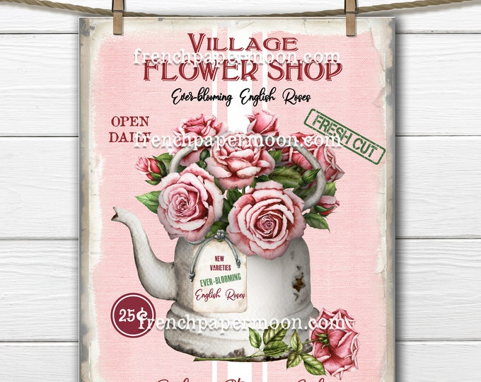 Flower Shop, Vintage-style Cottage Roses, DIY Flower Shop Sign, English Roses, Fabric Transfer, Pillow Image, Farmhouse, Pink, Burgundy, PNG