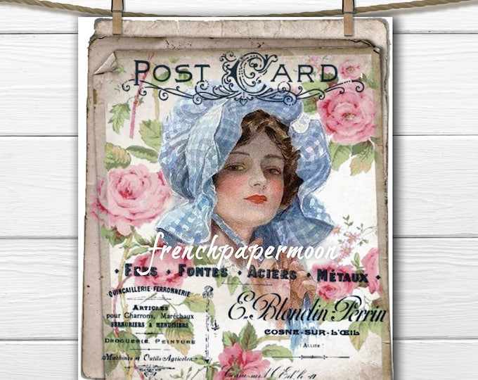Vintage Shabby French Digital Lady, French Graphics, Roses, French Pillow Graphic Transfer Image Printable, Harrison Fisher
